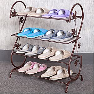 8. AISHN Continental Iron Multi-layer Simple Shoe Rack Storage Metal Small Four Quarters Shoe Stand