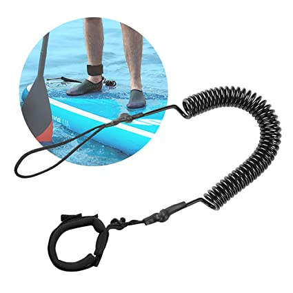 Black Stand UP Paddle Sporty Board Leash SUP Surfboard Leash 10/' Coiled NEW!