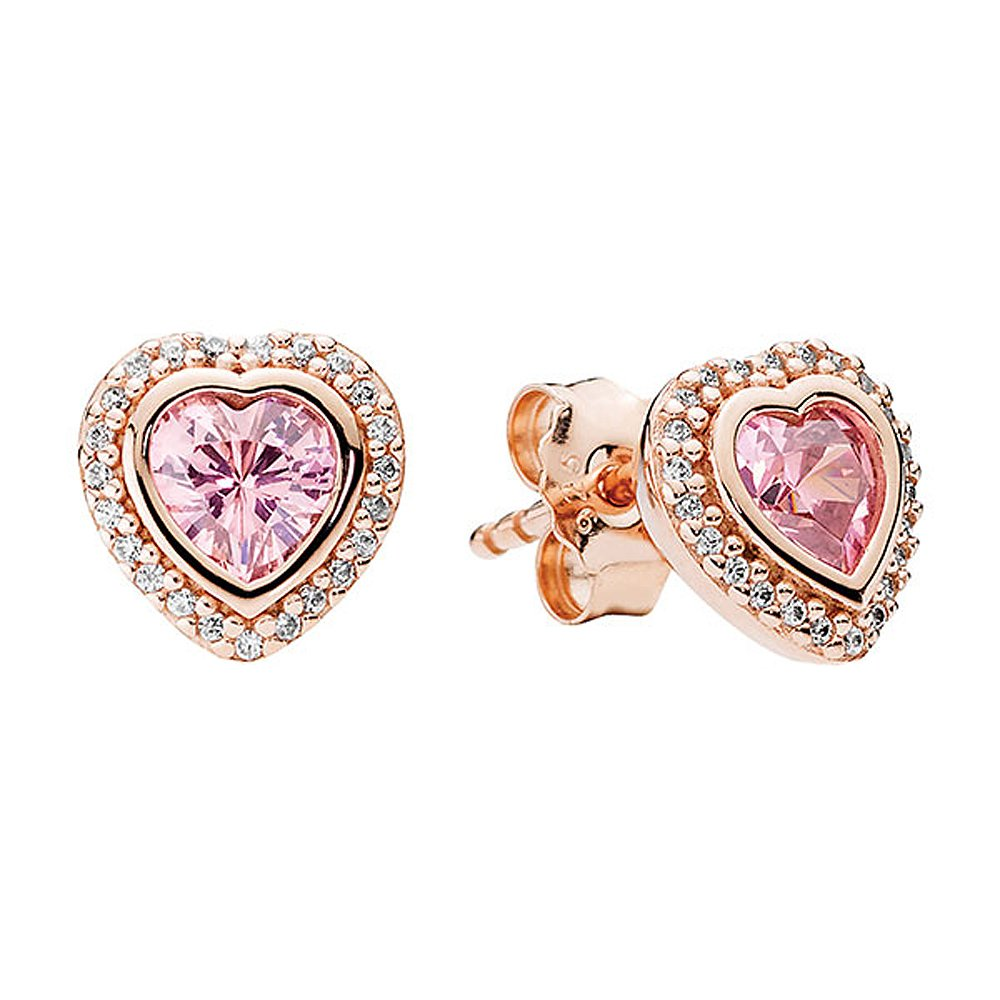 Authentic PANDORA Rose Gold Sparkling Love Studs 280568PCZ ,with PANDORA Box