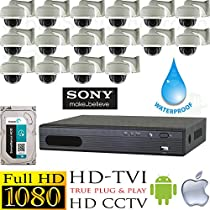 USG HD-TVI 16 Camera 1080P CCTV Kit: 16x TVI 1080P 2MP 2.8-12mm Vari-Focal Lens Dome Cameras With Wall Mount Brackets + 1x 16 Channel Full 1080P HD-TVI 1080P DVR + 1x 3TB HDD High Definition Video Surveillance For Your Home or Business