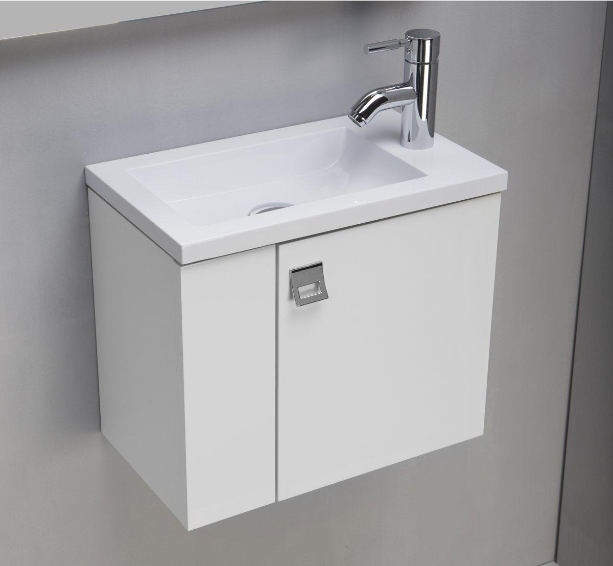 BATHROOMITALSTYLE Arredo Bagno Mobile Bagno da Cm 43 con Lavabo/Lavamani/Lavandino in mineralmarmo bianco opaco