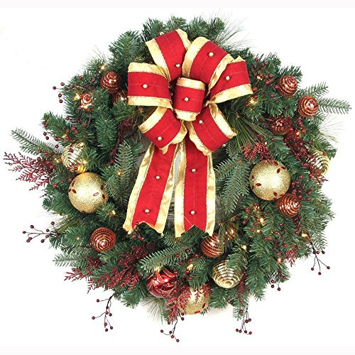 Hilltop Christmas Wreath with Ribbon, Baubles and 50 Battery-Operated Lights