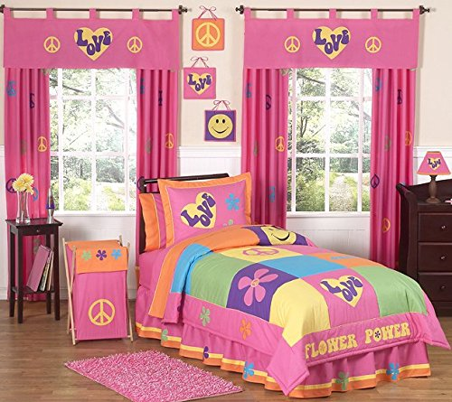 Groovy Peace Sign Children's Bedding 4 Piece Girls Twin Set