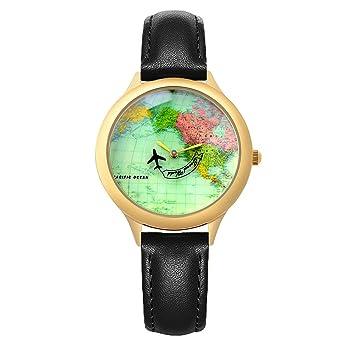 Amazon moving airplane unisex vintage world map wrist watches moving airplane unisex vintage world map wrist watchesfun wristwatch for men women black leather sciox Choice Image
