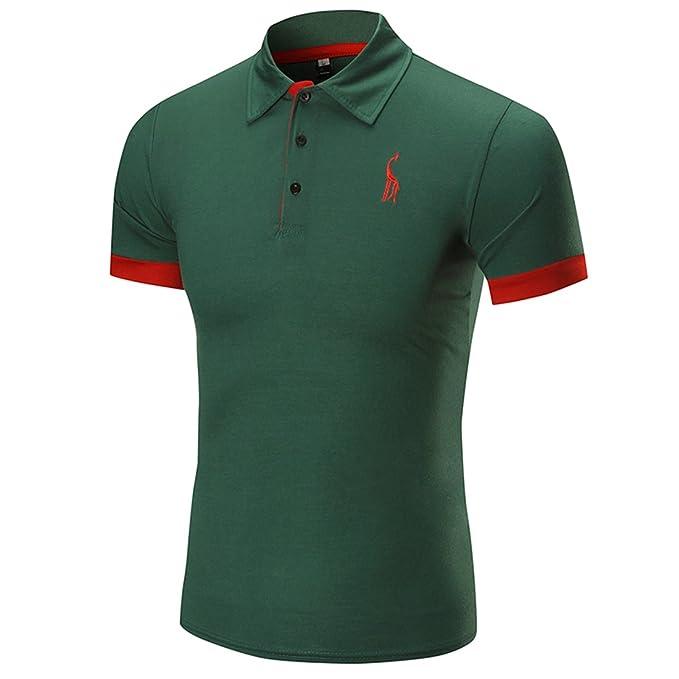 0d4ce65c455 YeeHoo Moda Slim Manga Corta Ocasional Camiseta Polo para Hombre Jirafa  Bordado Golf Camiseta Algodón M-XXXL  Amazon.es  Ropa y accesorios