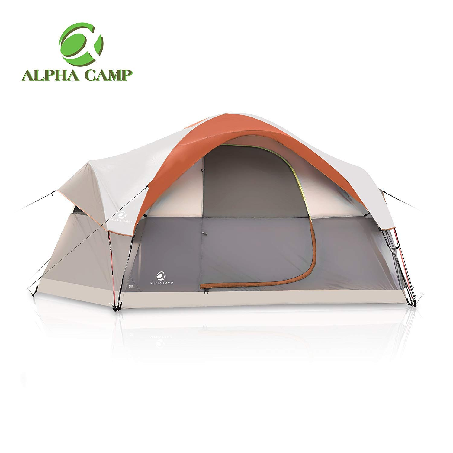 [ALPHA CAMP] [ALPHA CAMP ファミリーキャンプテント6人 Dome Family Camping Tent 6 Person - Orange 14` x 10`] (並行輸入品) One Size One Color B07H7YN26J