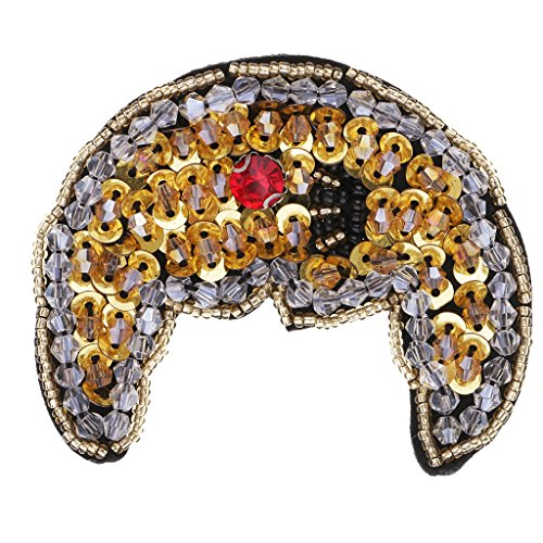 (Flameer Fashion Moon Bead Rhinestone Patch Applique Badge for DIY Bag Clothing Decoration)