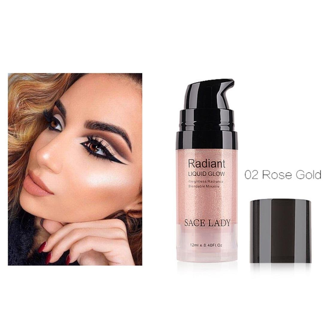 Ourhomer Waterproof Lasting Liquid Glow Highlighter Lip Foundation Makeup Shimmer Cream Facial Bronzer Conto (B)