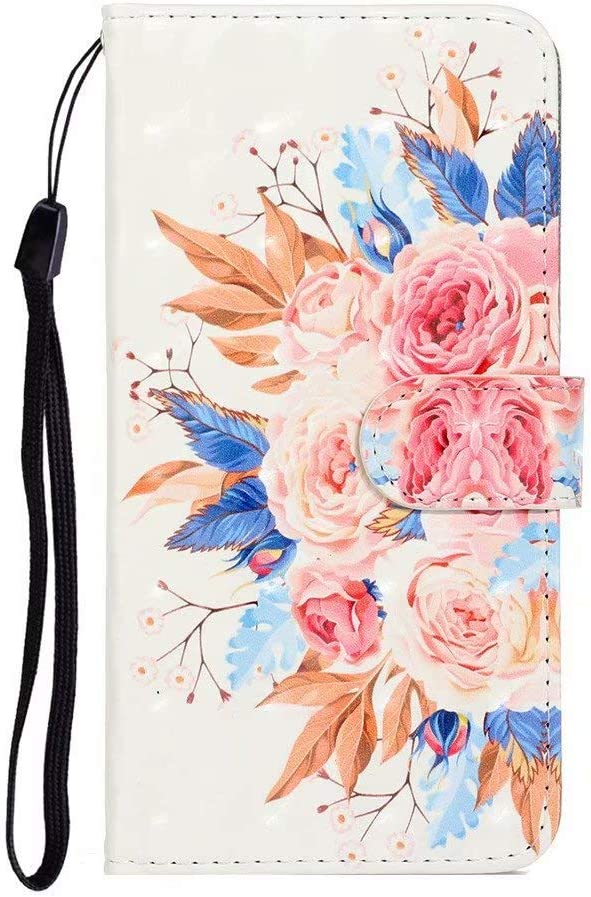 FlipBird Huawei Nova 5i Pro Case for Girls Cartoon Flower Pattern PU Leather Flip Wallet Case Cover Kickstand with Card Slots and Wrist Strap for Huawei Nova 5i Pro