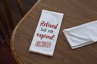 """product image for Imagine Design Relatively Funny Retired But Not Expired, Heavy Weight 100% Cotton Kitchen Towel, 18"""" x 28"""", Red/Black/White"""