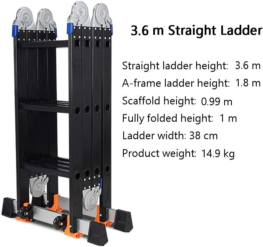 Escalera Extensible de Andamios multiposici/ón de Alta Resistencia Negra para /áticos de tejados ZAQI Escalera Extensible Escalera telesc/ópica Escaleras telesc/ópicas de Aluminio 150 kg
