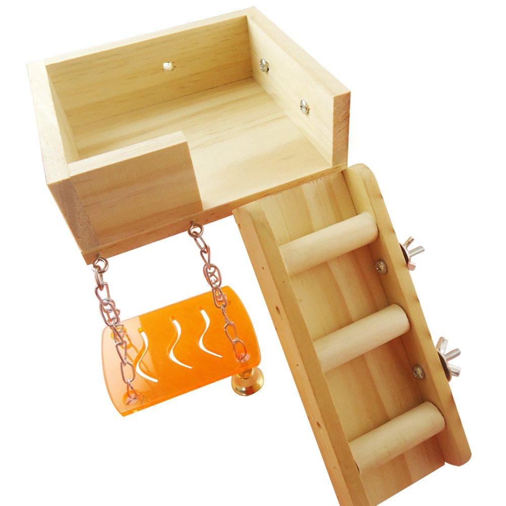 Yeshi Hamster Escalade Échelle Loft Plate-Forme de Cage pour Animal Domestique Toys–Multicolore
