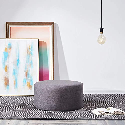 BELLEZE Modern 24″ Round Upholstered Pouf Fabric Footstool Rest Living Room Ottoman