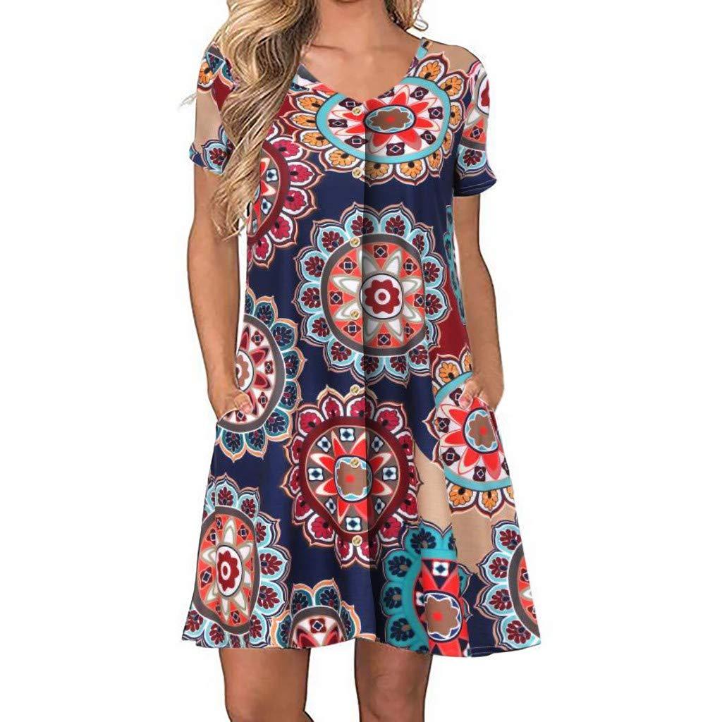 Women Boho Dress Sleeveless Beach Dresses Chiffon Skirt Casual Mini Shoulder Jumpsuit ❀Vine_MINMI❀ T-Shirt Mini Bodycon Navy by Vine_MINMI Dress