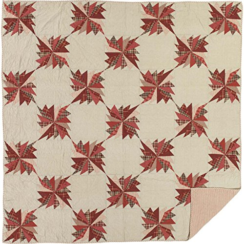 VHC Brands Farmhouse Rustic & Lodge Bedding - Ozark Red Quilt, Queen