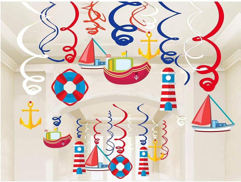 30Ct Navigation Hanging Swirl Decorations Cruise Ship Sailboat Lighthouse Lifebuoy Anchor Hanging Swirl Decorations - Navigation Birthday Party Supplies Fan Decors