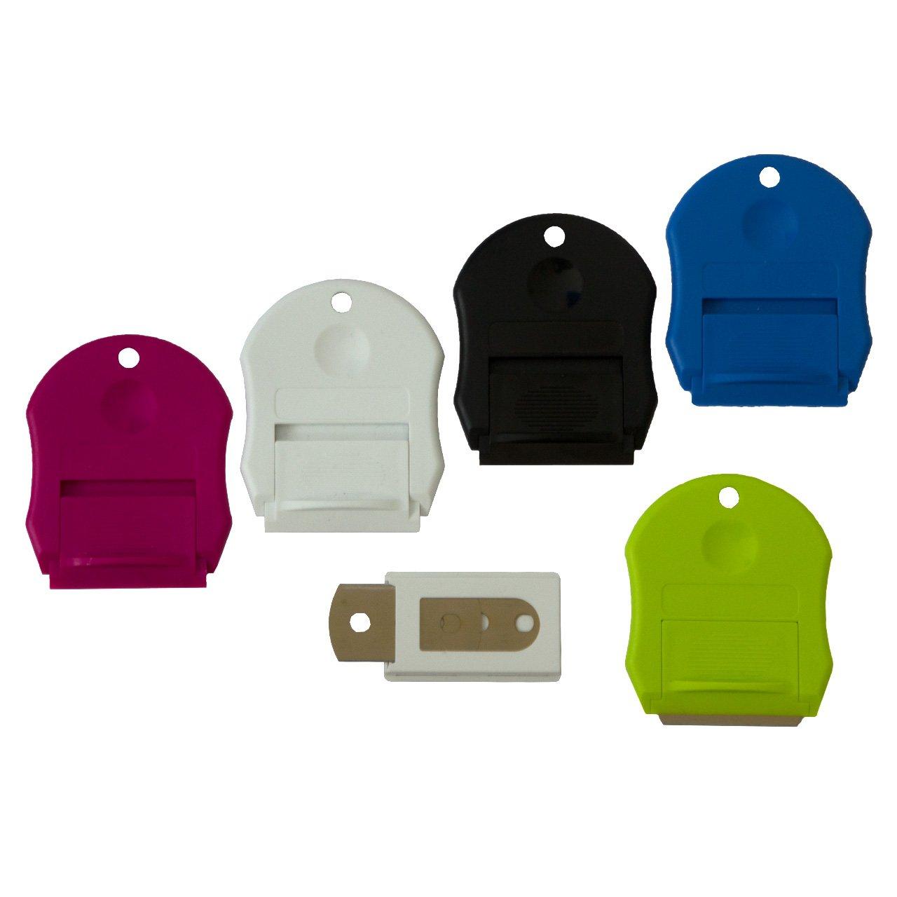 sortierte Farben inkl 5 Ersatzklingen im praktischem Spender Universalschaber 5er Set Vignetten//Etikettenschaber