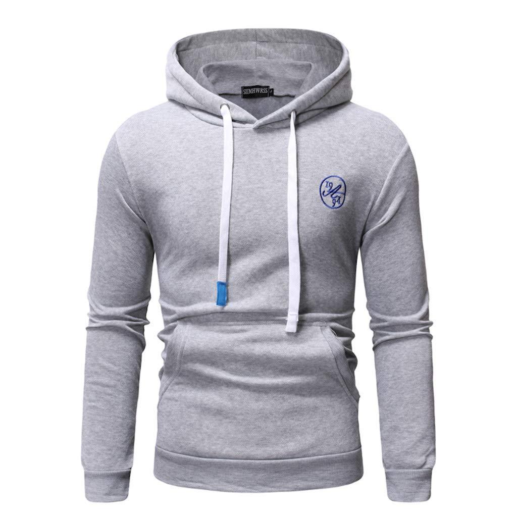 Mens Hoodies Pullover Graphic, Men's Long Sleeve Camouflage Hoodie Hooded Sweatshirt Top Tee Outwear Blouse (XL, Gray 1) by baskuwish Men Blouse