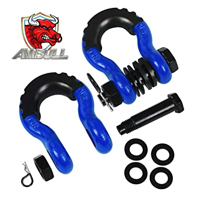 AMBULL Shackles 3/4 Inch D Ring Shackle (2 Pack) 41,850lb Break Strength with 7/8 Inch Pin, Isolator and Washer Kits for Use with Tow Strap, Winch, Off-Road Jeep Truck Vehicle Recovery, Blue: Automotive
