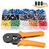 800pcs Crimp Tool Kit, Sopoby Insulated Electrical Cord Pin End Terminal, Tubular Terminals with Ferrule Crimping Plier / Wire Stripping Tool, Assorted Wire Connector Set