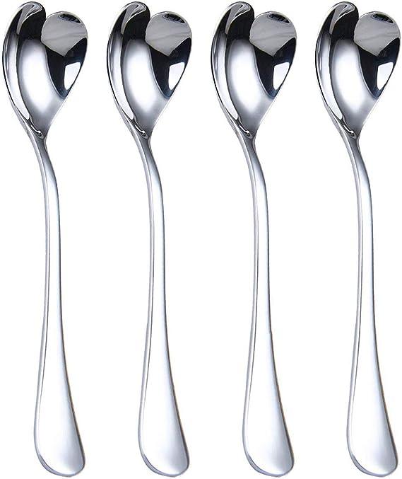 Heart Shaped Spoons Dessert Ice Cream Sundae Coffee Tea Spoon Novelty Durable