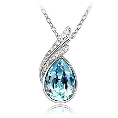 Lily Jewelry Chic Aqua Blue Austrian Swarovski Elements Crystal Water Drop Shape Necklace for Women