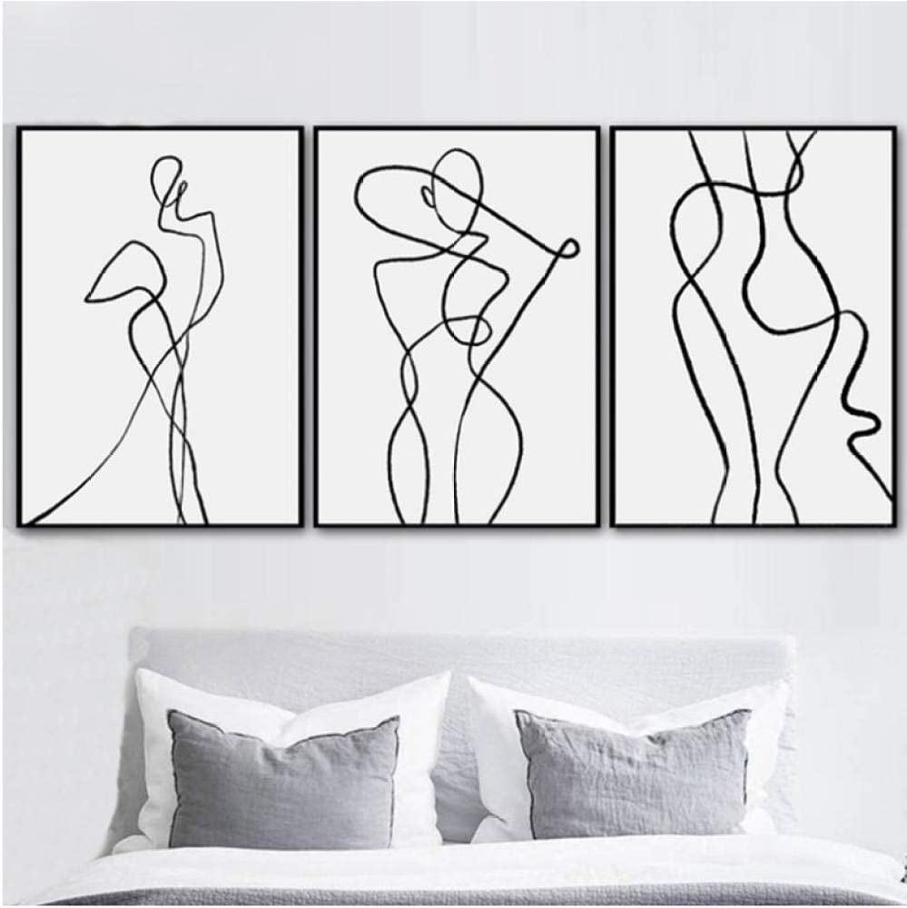 Amazon Com Modern Minimalist Geometric Curve Wall Art Figure Canvas Painting Black White Posters And Prints Wall Pictures For Living Room 60x80cmx3 Unframed Posters Prints