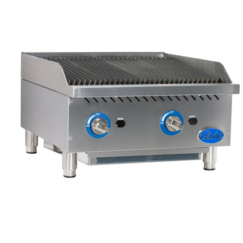 Globe Food Equipment Countertop 24'' S/S Radiant Gas Charbroiler
