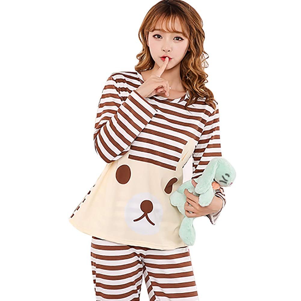 50a4f9f580 Amazon.com  Ss-Lqlhy Cute Women Cartoon Animal Print Pajama Set Long Sleeve  Two-pieces Sleepwear 3 L  Clothing