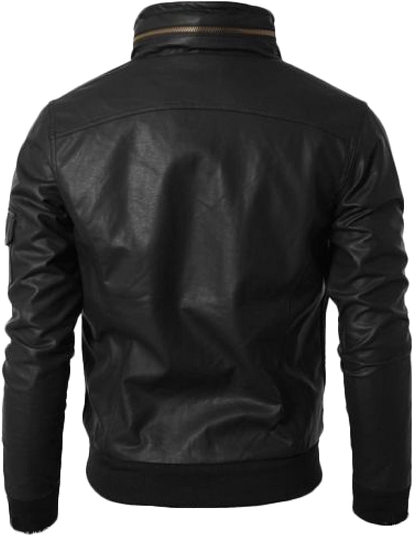 Men Leather Jacket New Soft Lambskin Slim Biker Bomber Coat T1378