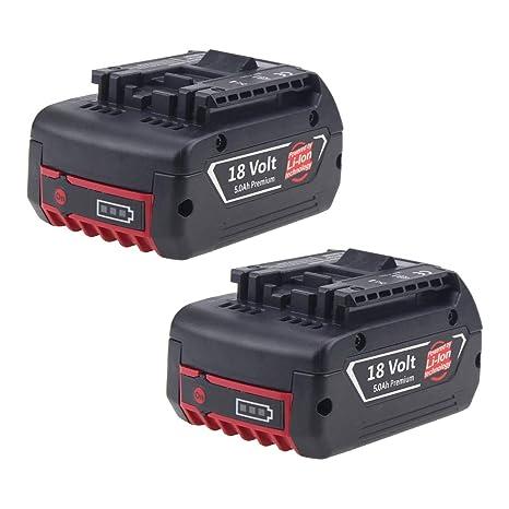 2X Boetpcr BAT609 Reemplazo para Bosch Batería 18V 5000mAh Li-ion BAT609 BAT610G BAT618G BAT620 Taladro Herramientas
