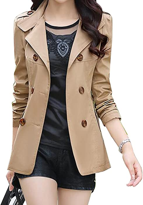 11b435c8adf SHOWNO Womens Double-breasted Lapel Short Trench Coat Jacket Blazer Coat 1 S