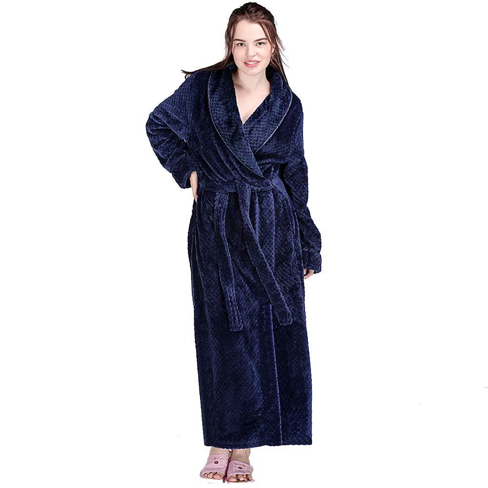 01790be5cddc0 Peignoir Femme, Vêtements De Nuit Hommes Femmes, Grille Chaude en Molleton  De Corail Épaissi Long Paragraphe ...