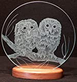 Carved Glass Owl Twins on 12 in. Circle in Handcrafted Wooden Base