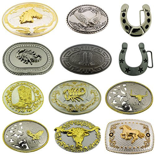Cowboy Boots Horse Horseshoe Belt Buckles Wholesale Lot 12 Pieces Eagle Bull New from Generic/Buckleszone