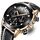LIGE Relojes para hombres Cronógrafo deportivo Reloj de cuarzo analógico a prueba de agua con correa de cuero negro Clásico Cronógrafo Grande para hombre Reloj de pulsera Oro Negro