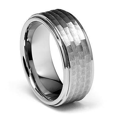 9mm hammered mens tungsten wedding band size 7 - Mens Tungsten Wedding Rings