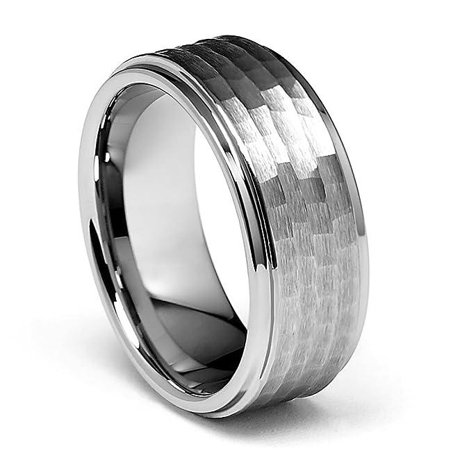9mm Hammered Mens Tungsten Wedding Band Size 6 To 15