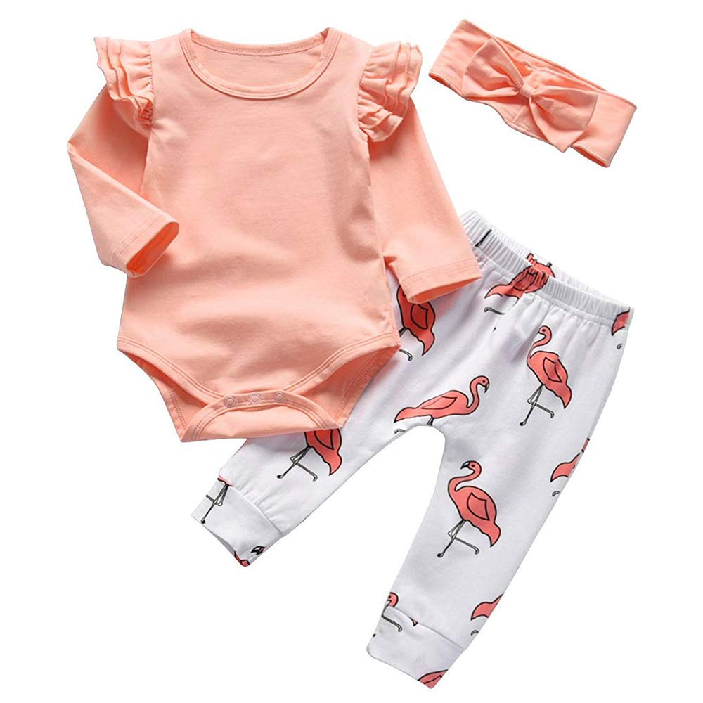 Baby Girl Long Sleeve Pink Ruffle Romper Flamingo Printing Pants with Headband Outfit Set