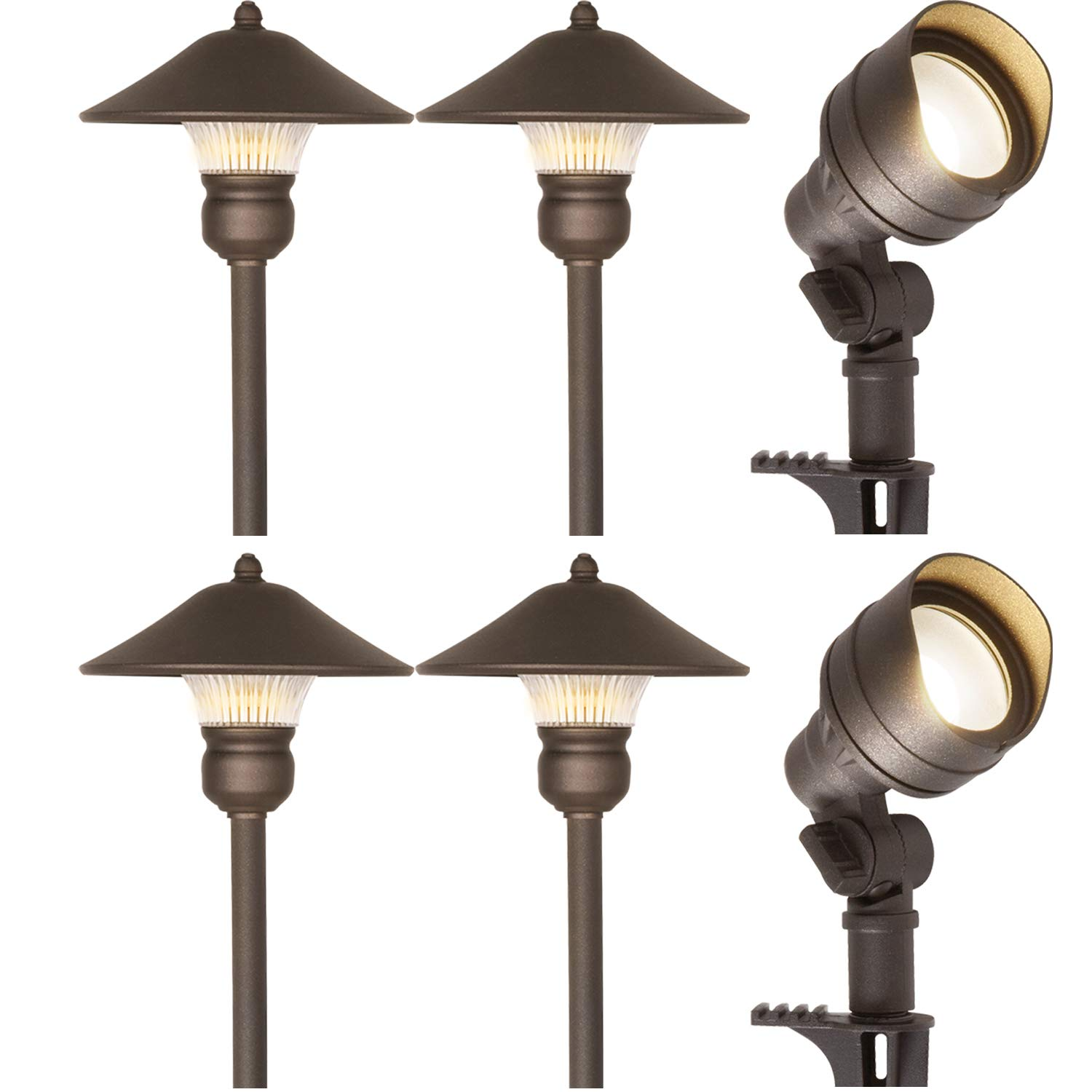 Hykolity 6 Pack Bronze Low Voltage LED Landscape Kits, 12V Pathway Flood Light Kits, 4.5W 205LM and 3W 150LM Wired for Outdoor Yard Lawn, Die-cast Aluminum, 30W And 30W Equivalent, 15-Year Lifespan