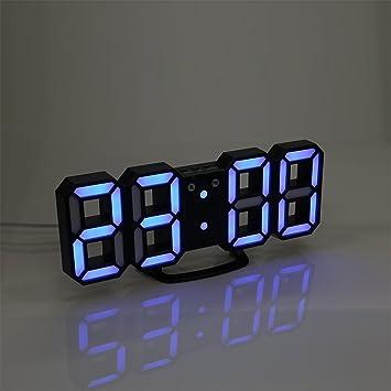 NAOZHONG 3D Digital Led Relojes De Pared 24 And 12 Horas Mostrar 3 Niveles De Brillo Regulable Con FuncióN Snooze De Luz Nocturna Para El Hogar Cocina ...