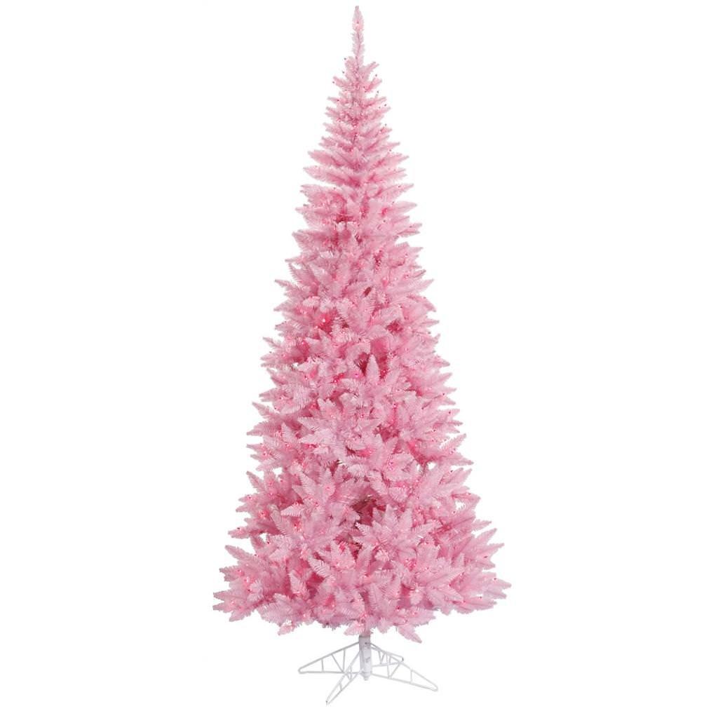 vickerman 66 inch slim pink christmas tree with pink lights - Pink Christmas Tree Lights