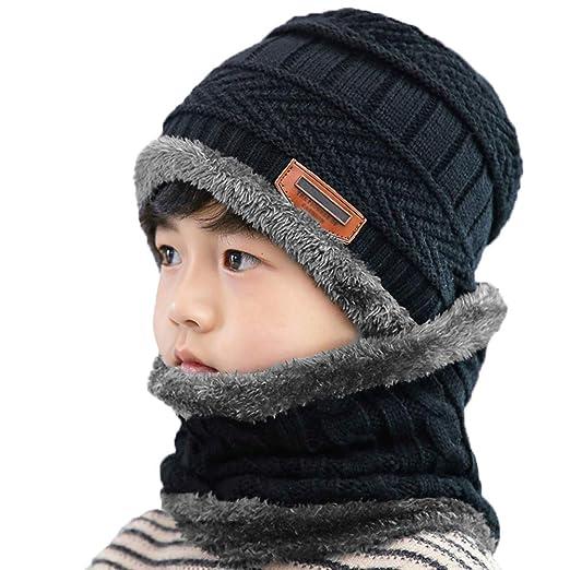 7ac42d5891d Kids Hat Scarf Set Warm Fleece Lining Kint Beanie Cap Neck Scarf for Children  Boys Girls