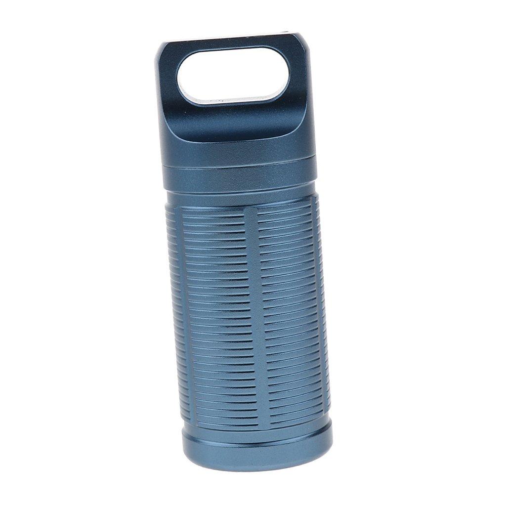 Negro FLAMEER Impermeable Al Aire Libre Camping Travel Portable Titanium Pill Box Case Botella Medicina Holder Contenedor