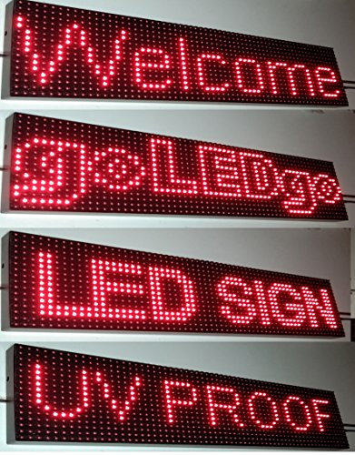 Ultra Bright Red Programmable Scrolling LED Sign - Splash WaterProof-Outdoor UVproof LED Display Metal Case (6.5
