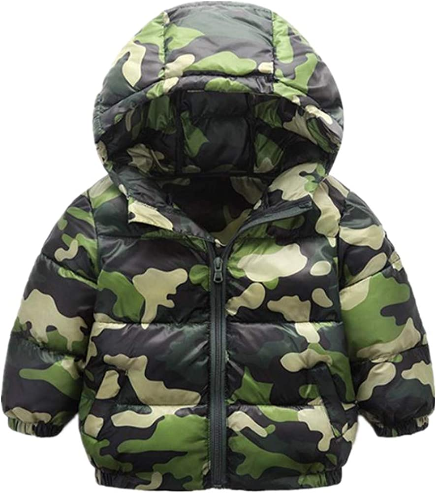 Boys Winter Coat Camo Puffer Active jacket Quilted Hooded Waterproof Outerwear Army Green Size 4