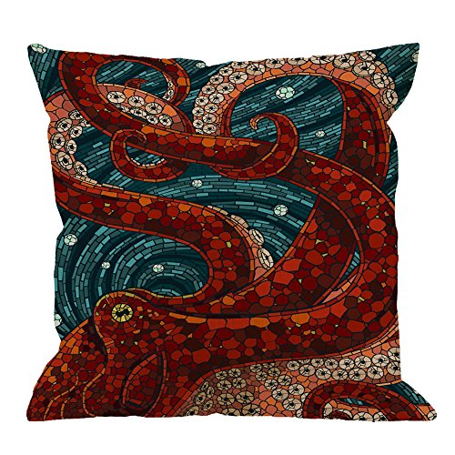 HGOD DESIGNS Kraken Pillow Case, Sea Monster Octopus Cotton Linen Cushion Cover Square Standard Home Decorative Throw Pillow for Men/Women 18x18 inch Blue Red (Throw Octopus Pillow)