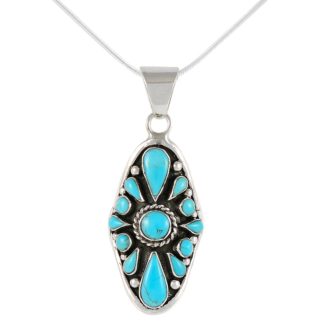 Turquoise Necklace 925 Sterling Silver Pendant & 18'' Chain (Blue)