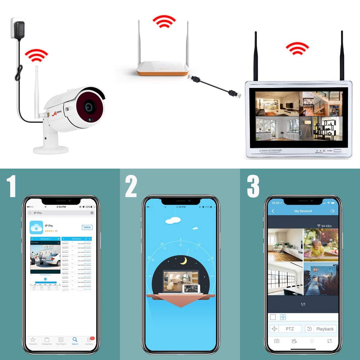[2019 Más Reciente] ANRAN 1080P Kit Cámaras de Vigilancia WiFi con Monitor de 12 Pulgadas 8CH NVR CCTV Kit Videovigilancia WiFi con Pantalla 8 Cámaras ...