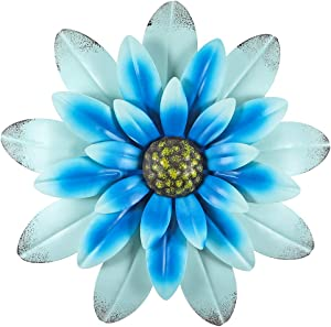 MDLUU Flower Wall Decor, 12-Inch Metal Flower Wall Art, Flower Wall Plaque for Garden, Yard, Living Room, Bedroom (Blue)